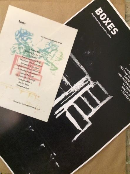 Versión póster del poema ecfrástico Boxes